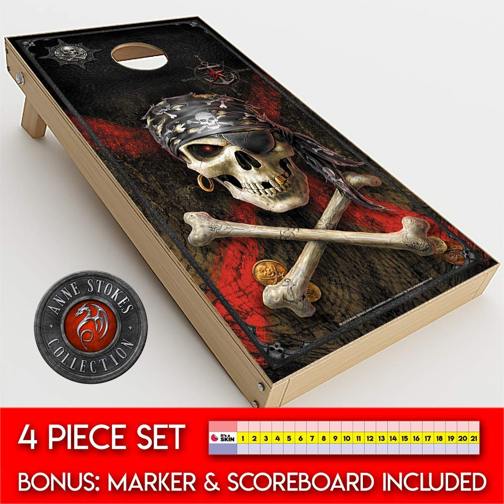 Skin Decals Vinyl Wrap for Cornhole Game Board Bag Toss (4 pcs.) Includes Dry Erase Marker and Scoreboard | Anne Stokes Pirate Skull