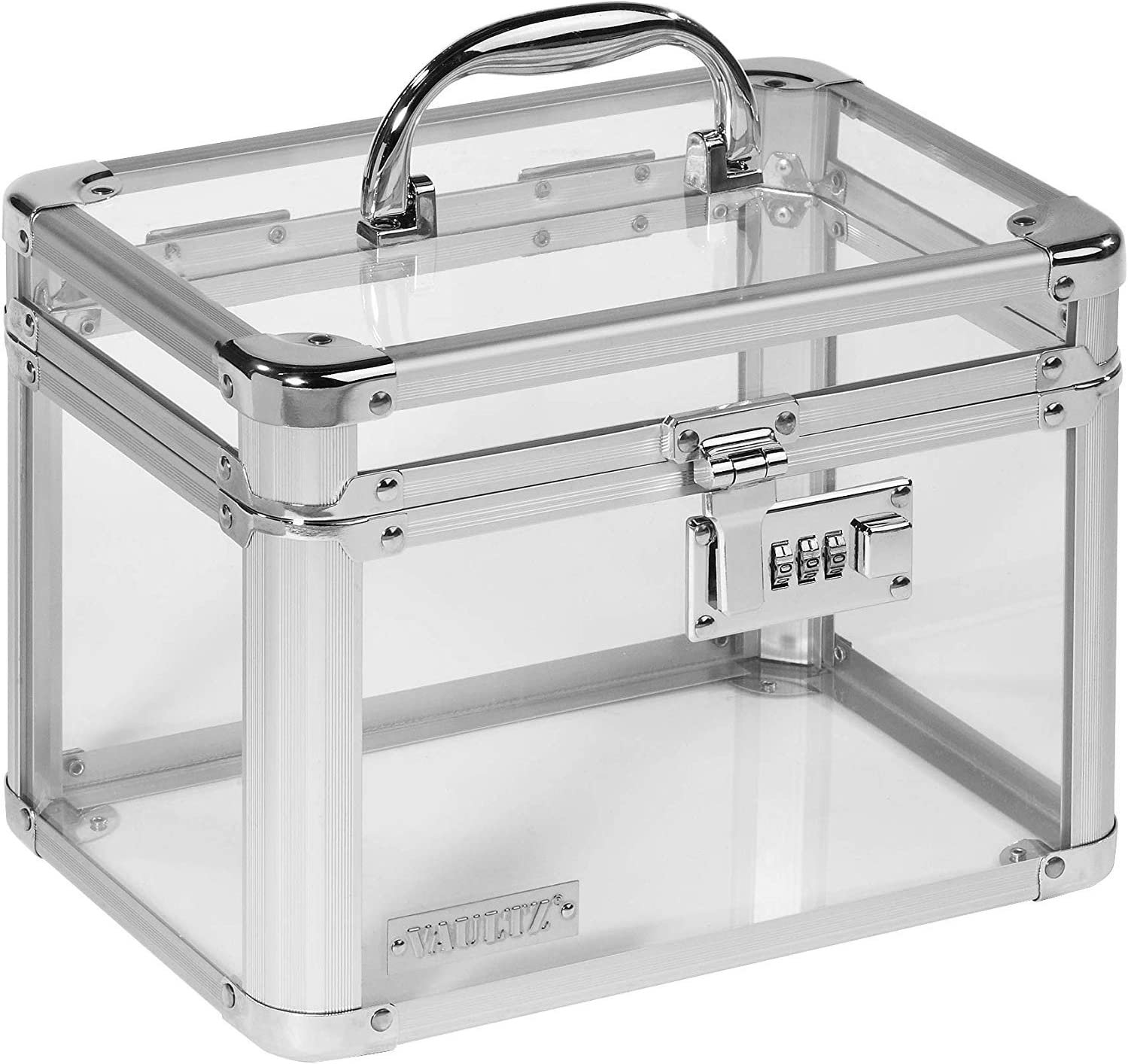 Vaultz Combination Lock Box, Clear Acrylic and Steel, 7.75 x 7.25 x 10 Inches, Clear (VZ00155)