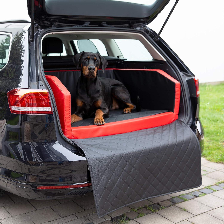 Copcopet Two Autohundebett Hundebett Kofferraum Transportbett Autoschondecke 90 X 70 X 38 Cm Rot Schwarz Haustier