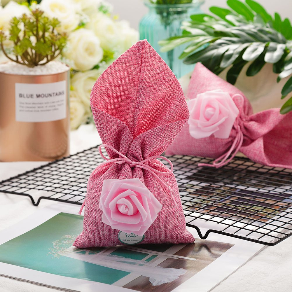 Amazon.com: 20pcs Burlap Bags with Drawstring Gift Pouches Rose ...