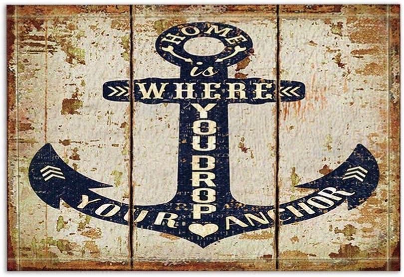 Decoración náutica Anclas en Vintage tablones de madera Alfombras de baño Antideslizante entradas de suelo Alfombra de puerta de entrada al aire libre, 60X40CM Alfombra de baño Alfombras de baño