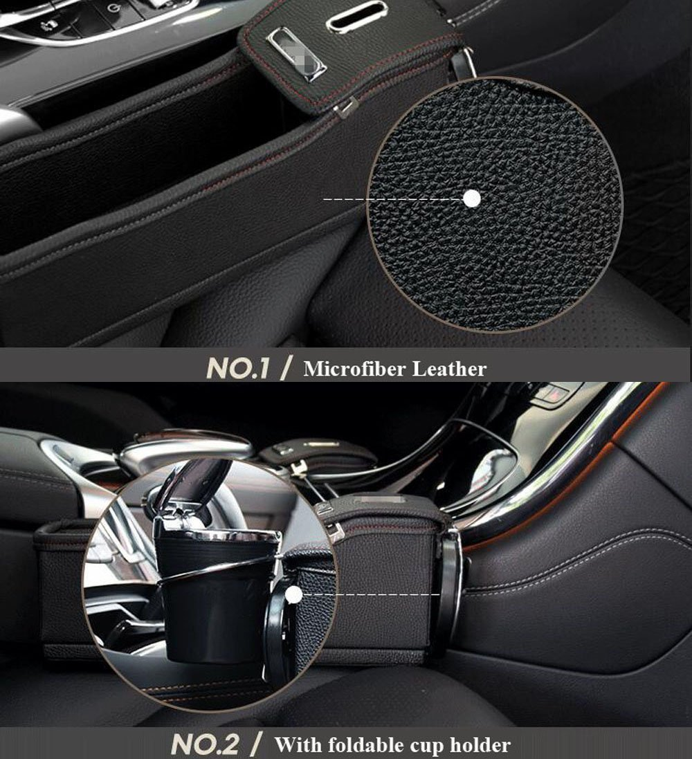 Black Red Premium PU Leather Side Pocket Organizer Car Seat Filler Gap Space Storage Box Bottle Cup Holder Coin Collector Car Interior Accessories 2PCS