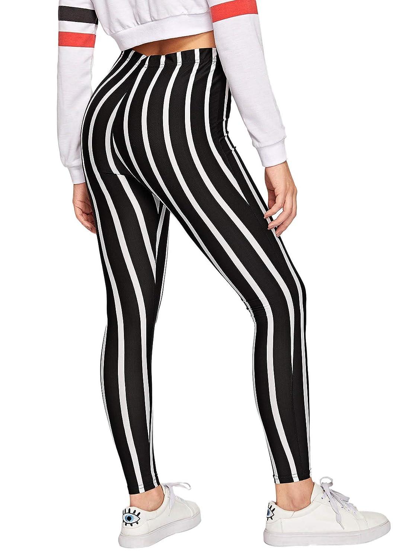 WDIRARA Women's Striped Print Capris Pants Elastic Waist Stretchy Yoga  Leggings at Amazon Women's Clothing store: