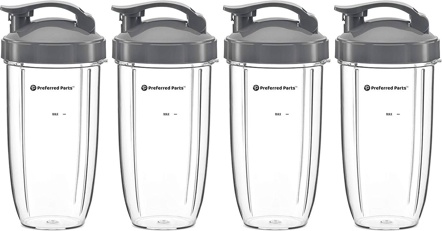 32oz Replacement Cups with Flip Top To Go Lid for NutriBullet 600w and Pro 900w Blender by Preferred Parts (4)