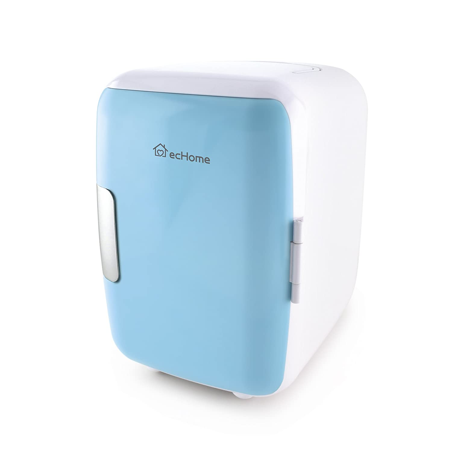 ecHome Portable 4L Mini Refrigerator Fridge Cooler Freezer and Warmer for Car Home Blue