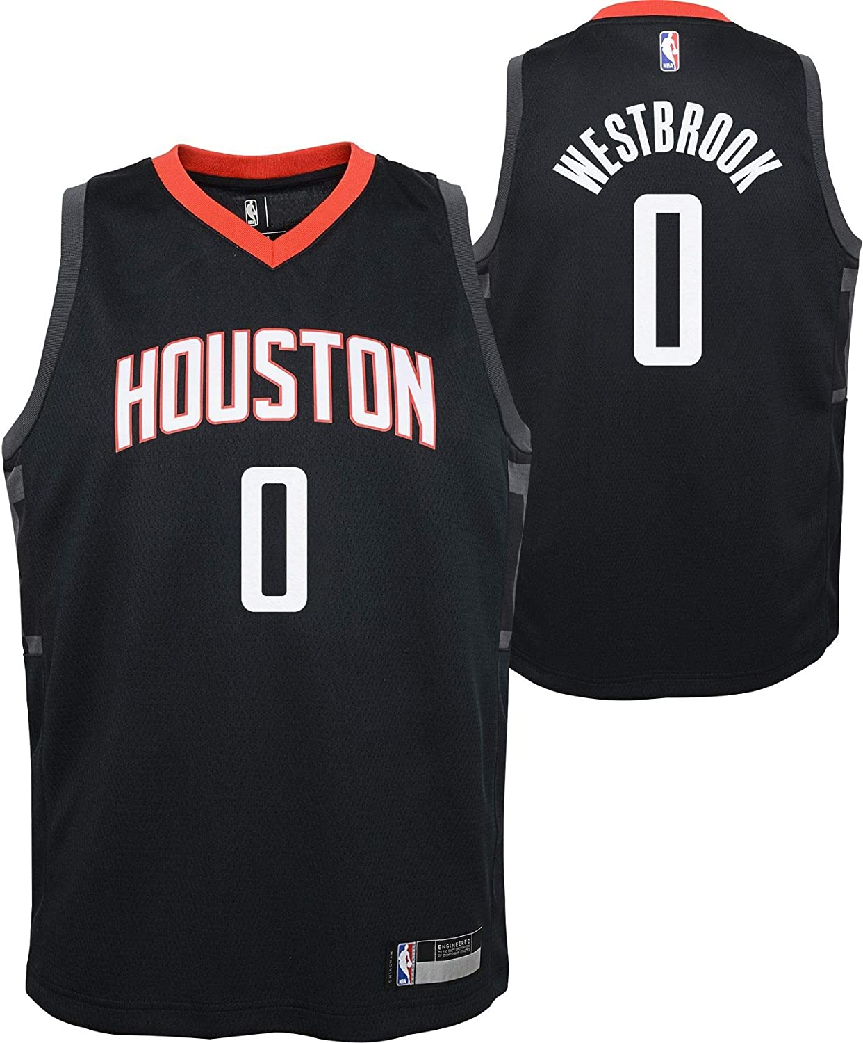 Outerstuff Russell Westbrook Houston Rockets #0 Youth 8-20 Black Statement Edition Swingman Jersey
