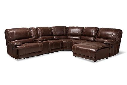 Amazon.com: Baxton Studio 150-9118-AMZ Sectional Sofas Brown ...