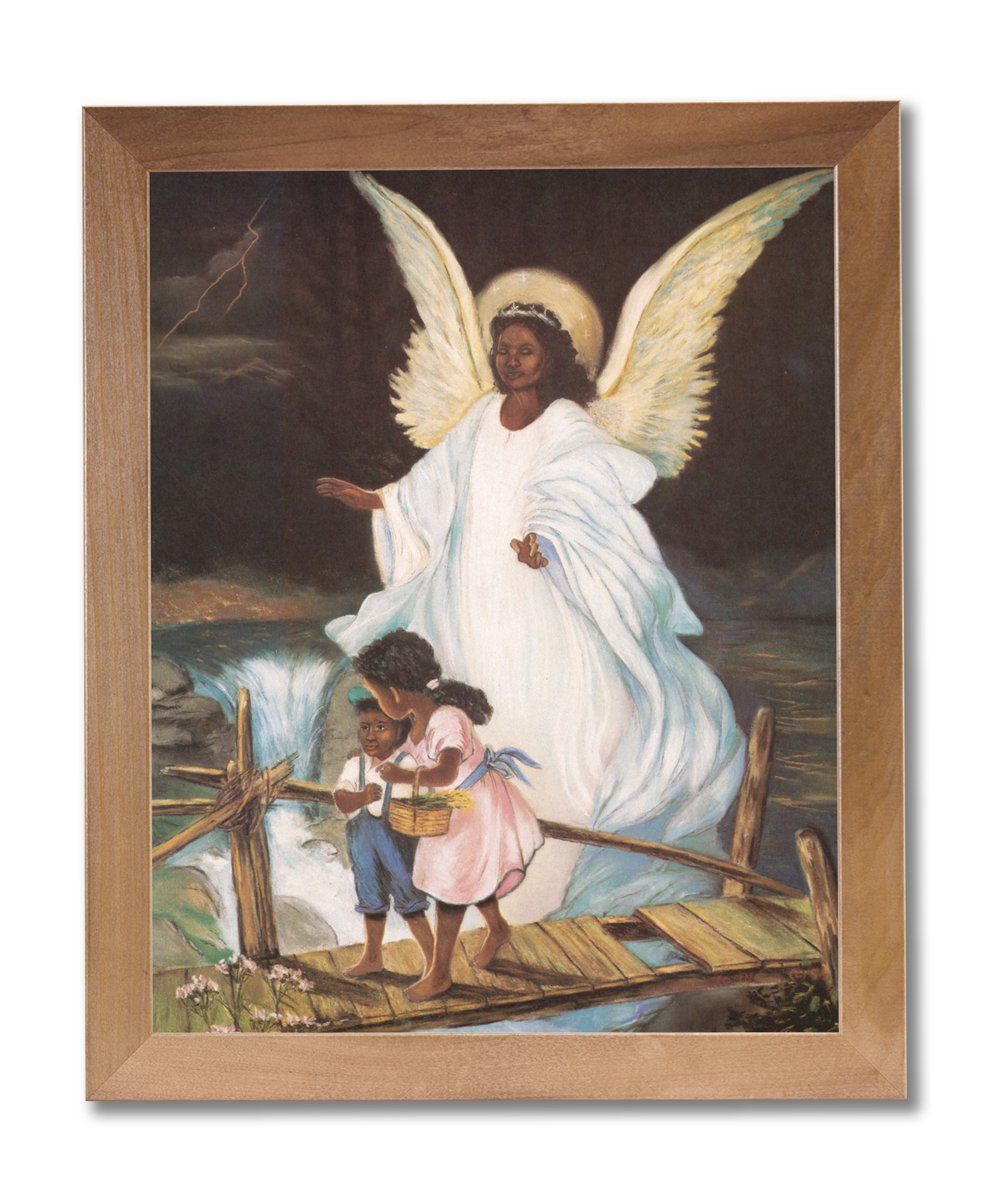 Guardian Angel With Children On Bridge African American Black Religious Wall Picture Honey Framed Art Print