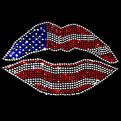 4th of July Fire Works Blue and Red Rhinestone Iron on Hotfix