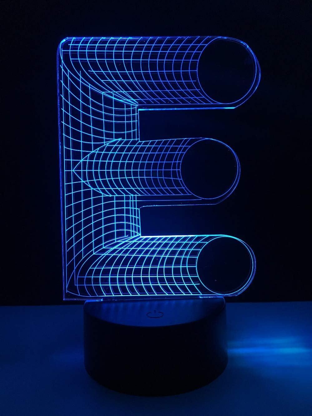 Night Light 3D, Cool 3D Lighting Alphabet Letter E 7 Mesa De Escritorio Cambiante De Color Led Night Light Home Bar Decoración Chriatmas Año Nuevo Presente: Amazon.es: Iluminación