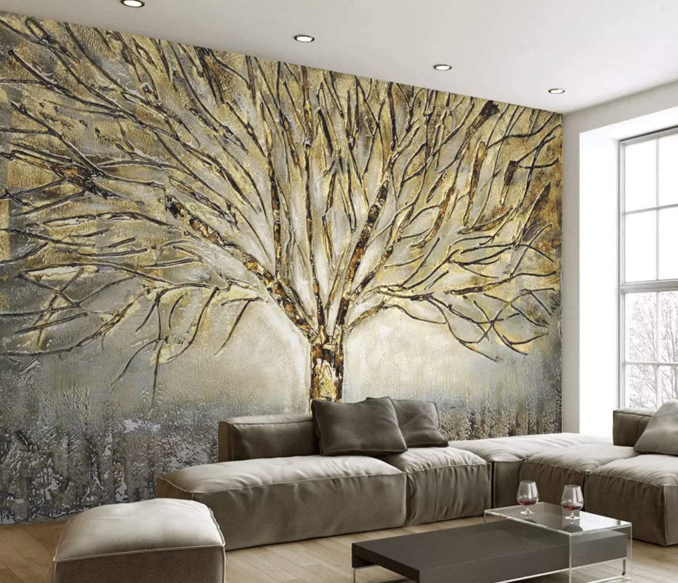 Amazon Com Murwall Tree Wallpaper Autumn Tree Wall Mural Watercolor Paint Art Natural Home Decor Cafe Design Living Room Bedroom Entryway Handmade