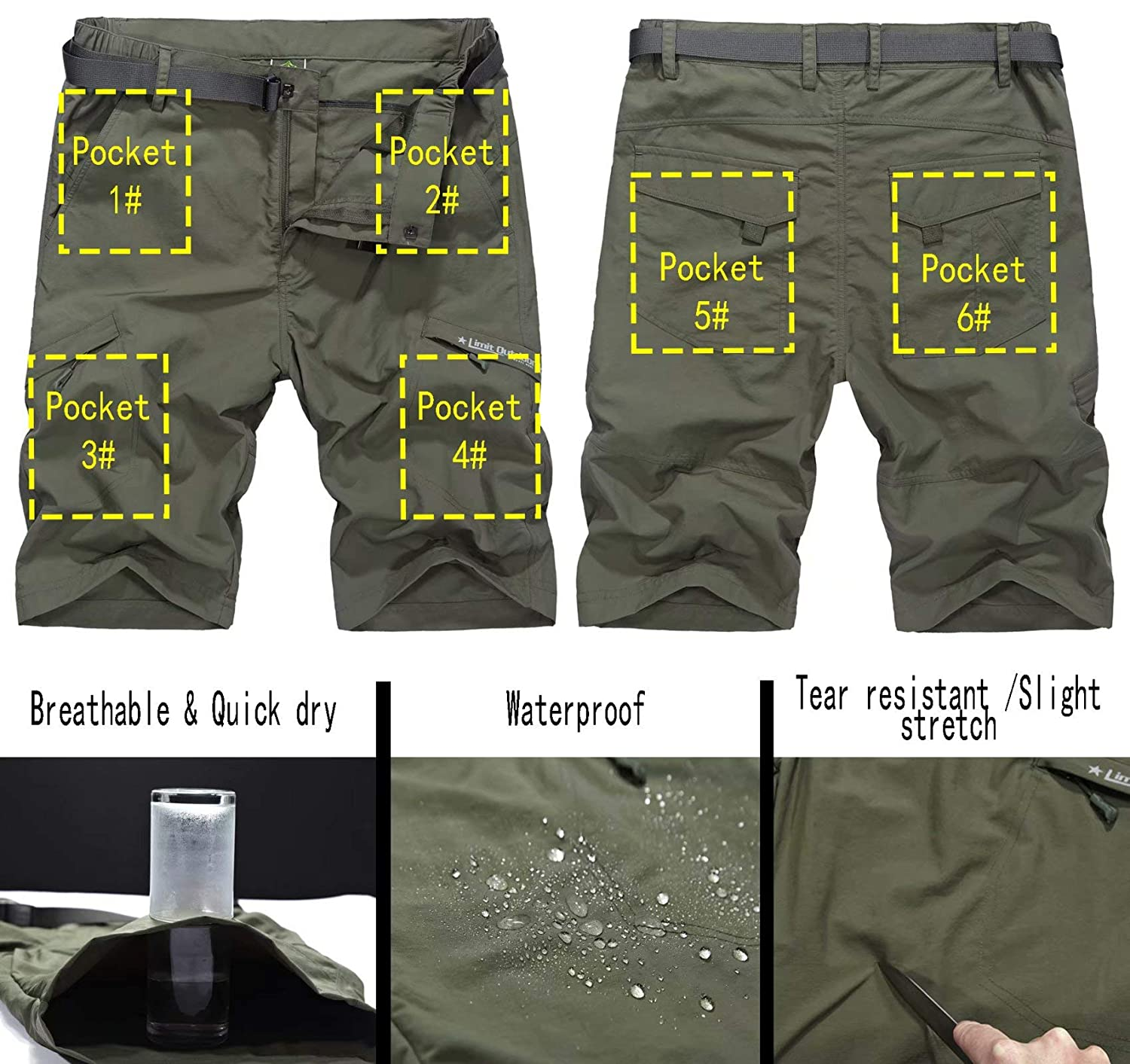 Vcansion Mens Outdoor Lightweight Hiking Shorts Quick Dry Shorts Sports Casual Shorts