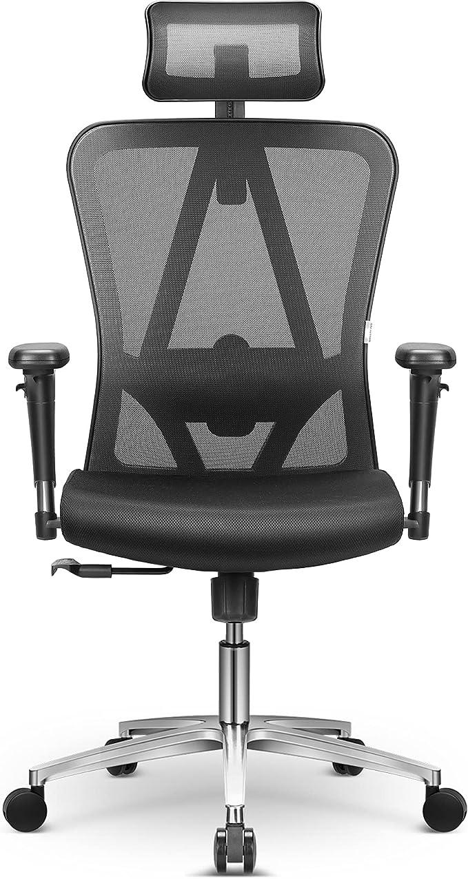 MFavour - Silla de oficina, mfavour silla escritorio ergonómica con reposacabezas/apoyabrazos ajustables y soporte lumbar, Carga máx. 150kg/330lb