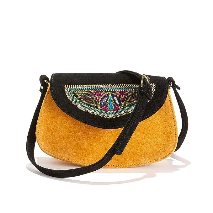 ed994ffad6 La Redoute Collections Donna Piccola Borsa Con Patta Ricamata In Pelle Tu:  Amazon.it: Abbigliamento