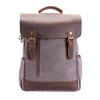 15.6 inch Canvas Leather Backpack,WalkingToSky Retro Canvas School Rucksack Backpack up to Laptop Bag, Travel Bag for Men & Women Outdoor Daypacks