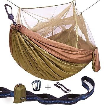single  u0026 double camping hammock with mosquito bug   10ft hammock tree straps  u0026 amazon    single  u0026 double camping hammock with mosquito bug        rh   amazon