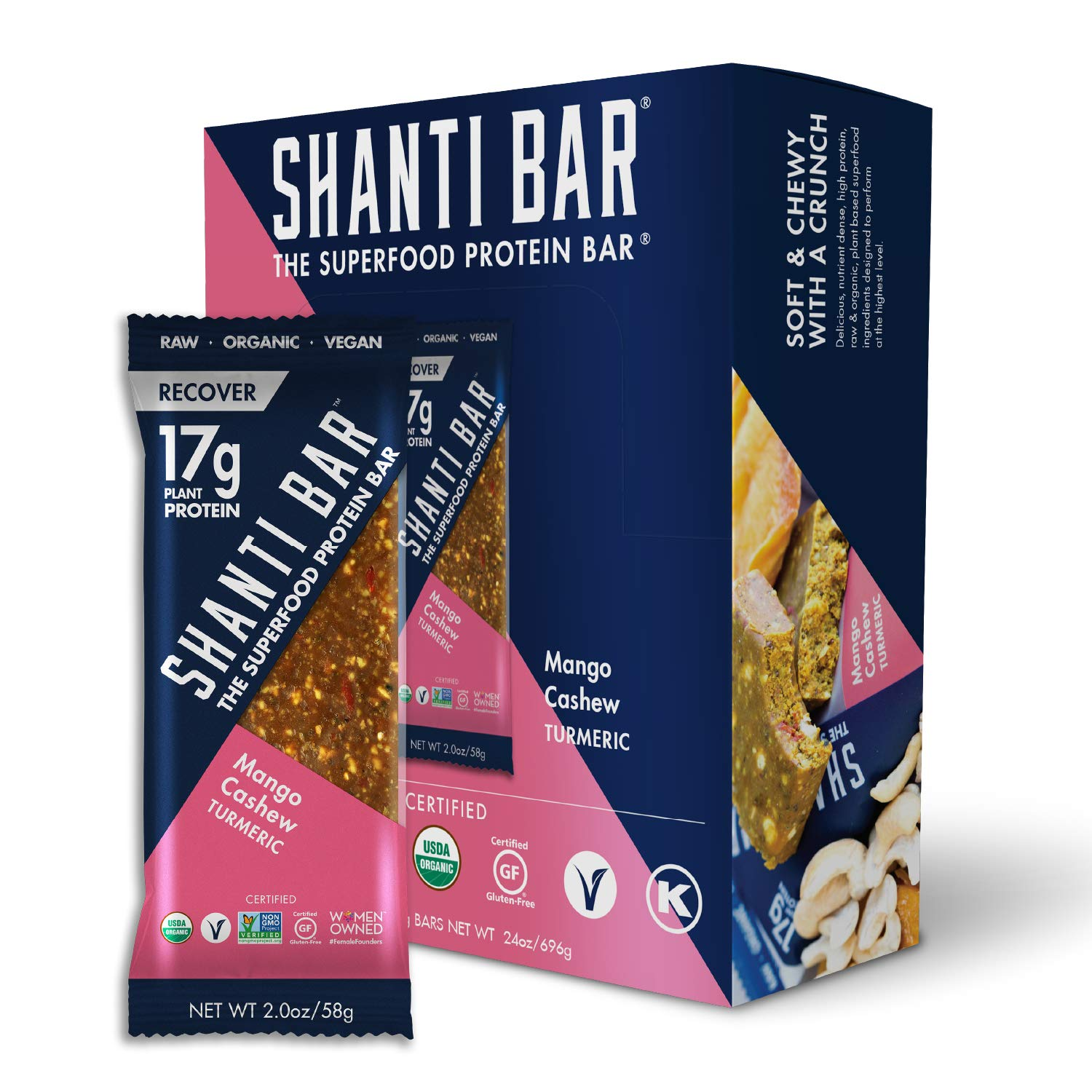 SHANTI BAR | 17G Plant Based Protein | Performance Superfood | Vegan Sport Protein Bar | Paleo, Certified Organic, Low Glycemic, Gluten Free, Raw Healthy Snack with No Refined Sugars | RECOVER Mango Cashew Turmeric| 12 Count, 2 oz Bars