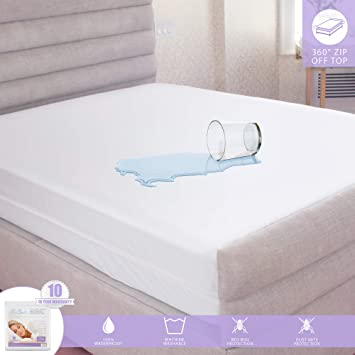 Waterproof Mattress Protector Zippered Mattress Encasement Breathable And Absorbent Full Size Fits 13 16 Depth Premium Hypoallergenic 6 Sided Bed Cover Mattress Encasements Home Kitchen