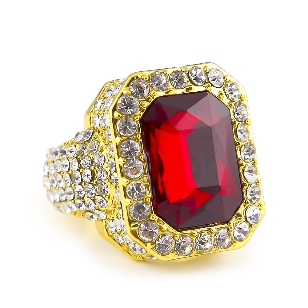 HongBoom Hot Hip Hop Rings 18K Gold Silver Plated CZ CRYSTAL Fully Iced-Out CUBAN Ruby Ring (Gold /US size 11)