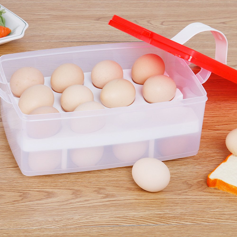 24 Eggs Organizer - Kitchen Egg Storage Box Organizer Refrigerator Storing Egg Outdoor Portable Container Storage oobest