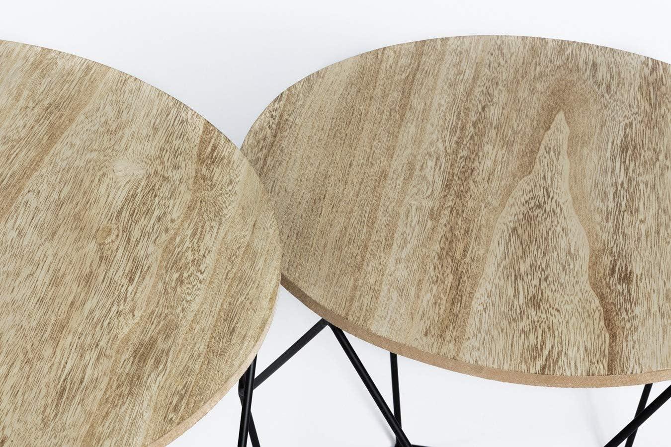 Table Basse Design Bois en Lot de 2 LIFA LIVING Table Gigogne Bois et Metal Ronde Tables dAppoint pour Salon Petite Table Basse Gigogne Scandinave
