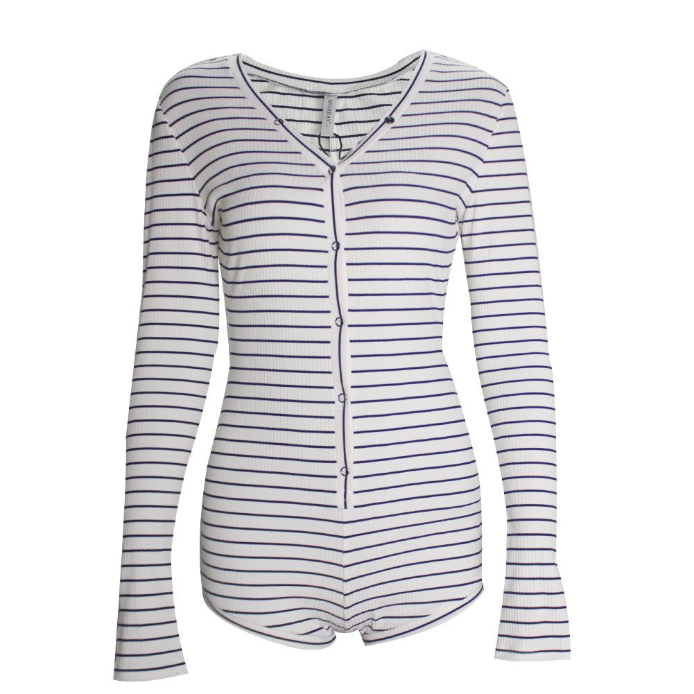 BEEY Womens Sexy Long Sleeve Knit One Piece Romper Bodycon (12, Striped Blue)