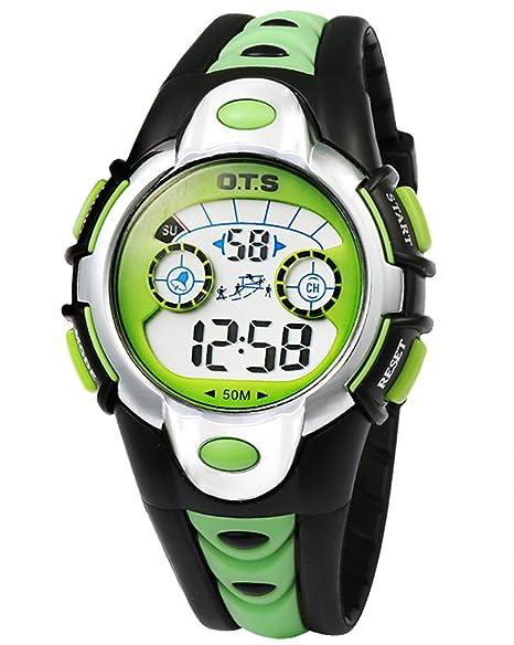OTS - Reloj Digital Deportivo Impermeable Luminoso de Cuarzo con Alarma para Niños y Estudiantes - Color Verde: Amazon.es: Relojes