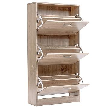 3 Drawer Wooden Shoe Storage Cabinet Cupboard Shoe Storage Organiser