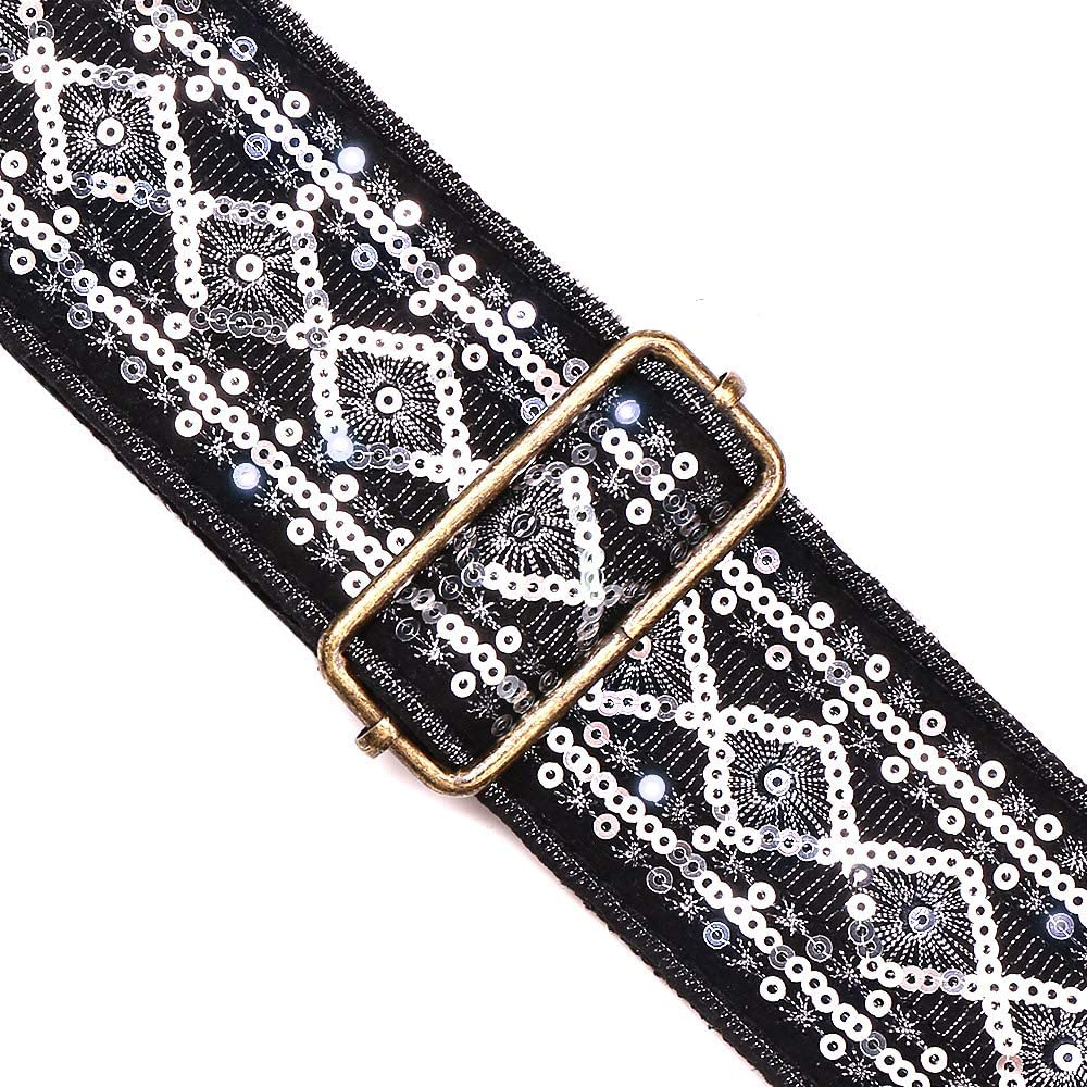 Premium Vintage Acoustic Embroidered Spark Sequin Guitar Strap With Cotton Backing Guitar Strap For Bass Guitar mosaic gold