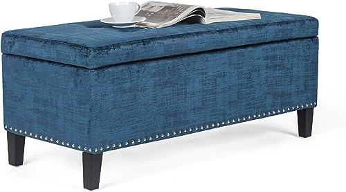 Furnistar 41.5 Rectangular Tufted Velvet Storage Ottoman Bench Blue