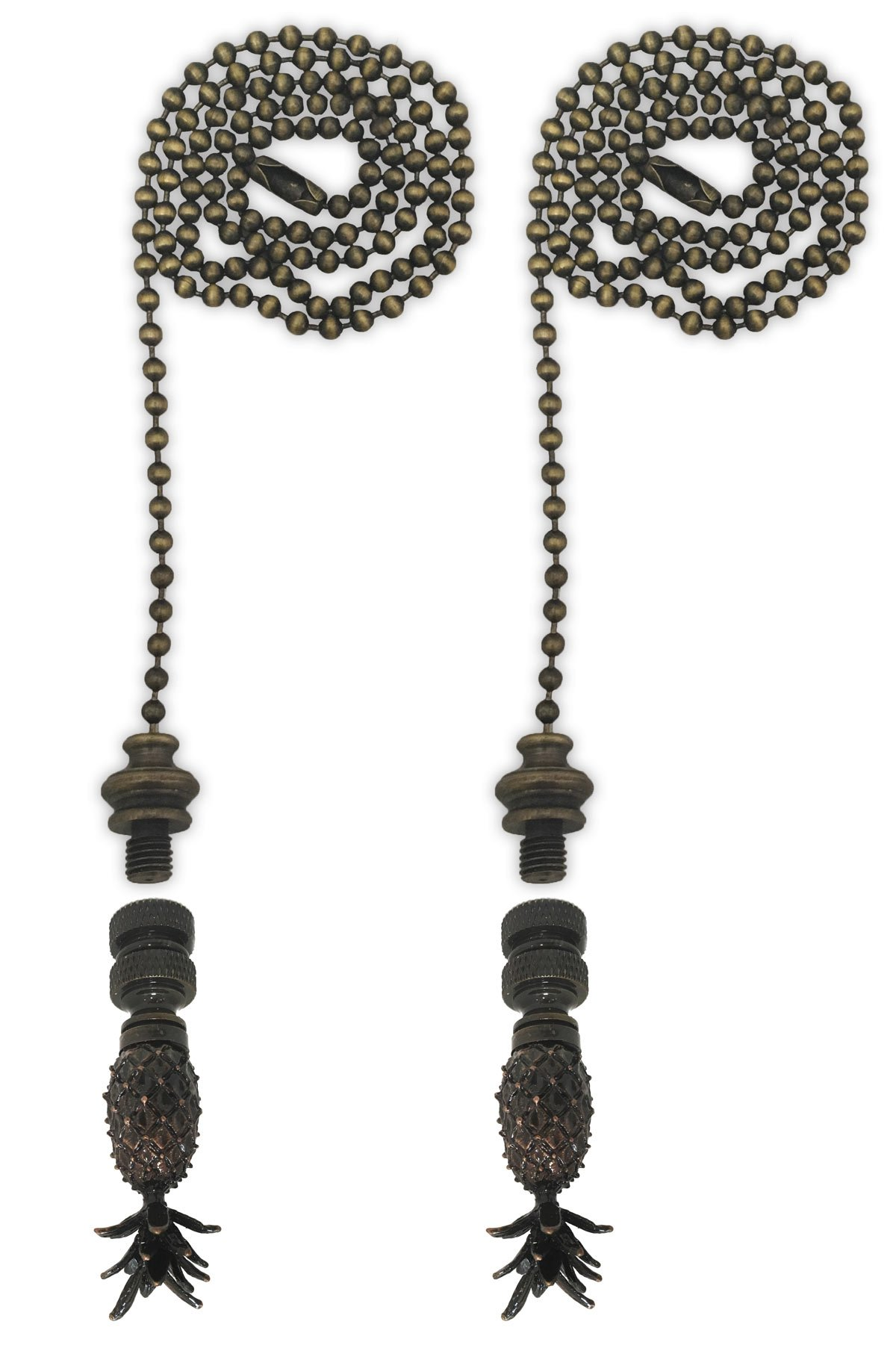 Royal Designs Fan Pull Chain with Vintage Pineapple Finial - Antique Brass - Set of 2