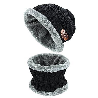 d0dcd4814118 Bonnet Épais Unisexe en Laine Beanie Tricotté Hiver Chauffant Chapeau avec  Écharpe de Doublure Polaire