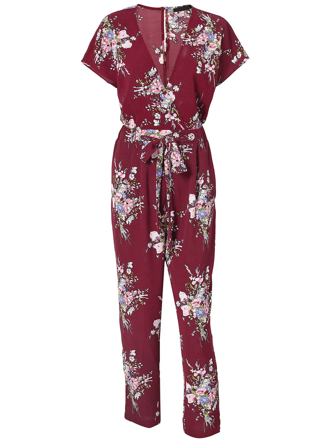 Missy Chilli Women's Floral Print Short Sleeve V Neck Wrap Jumpsuit Tie Waist Wine Red US 12