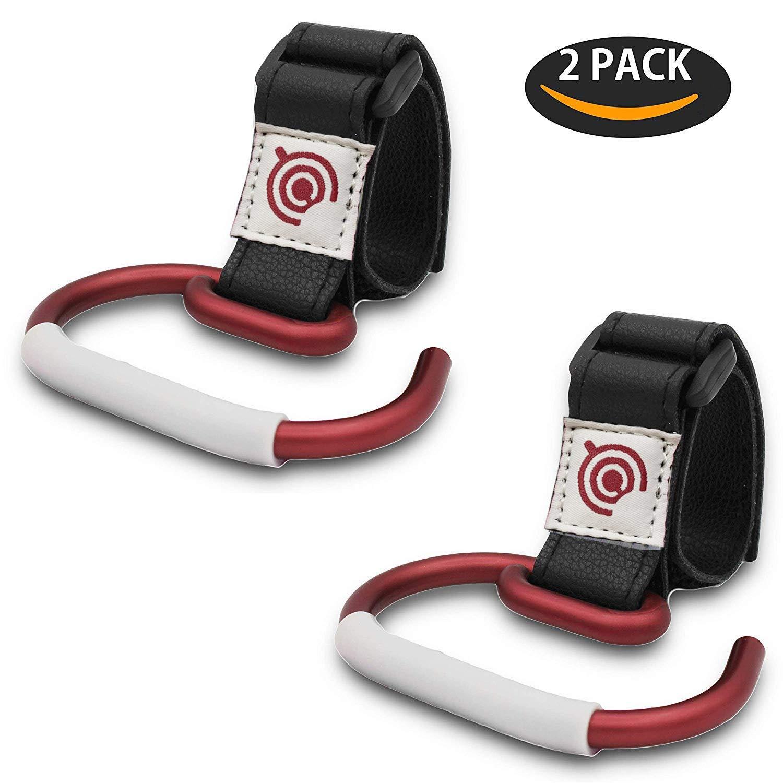 Diaper Changing Bag Durable Aluminum Stroller Holders for Attaching Shopping Bag 2 Pack Baby Stroller Hooks Universal Bags Clips