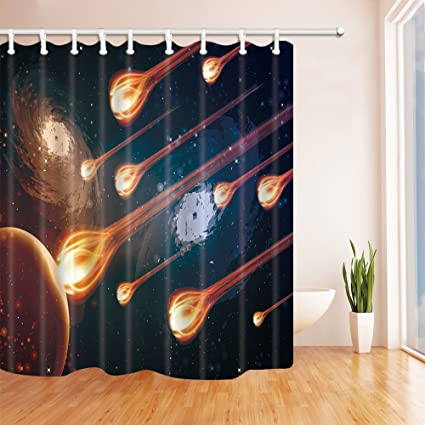 HiSoho Space Universe Decor Watching A Meteor Rain Shower Curtain Mildew Resistant Polyester Fabric
