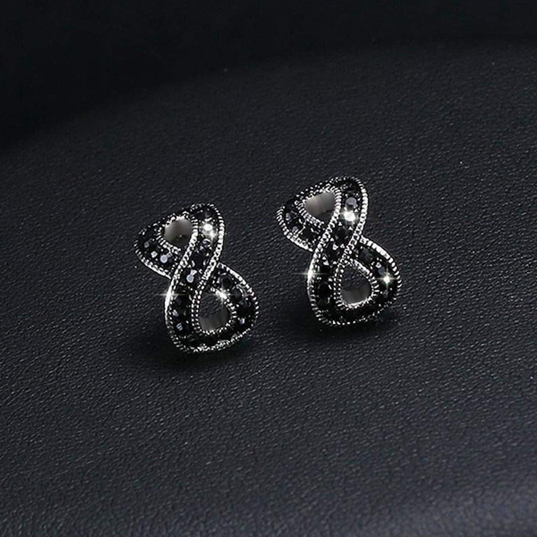 Luxury Black CZ Stone Stainless Steel Earrings for Woman