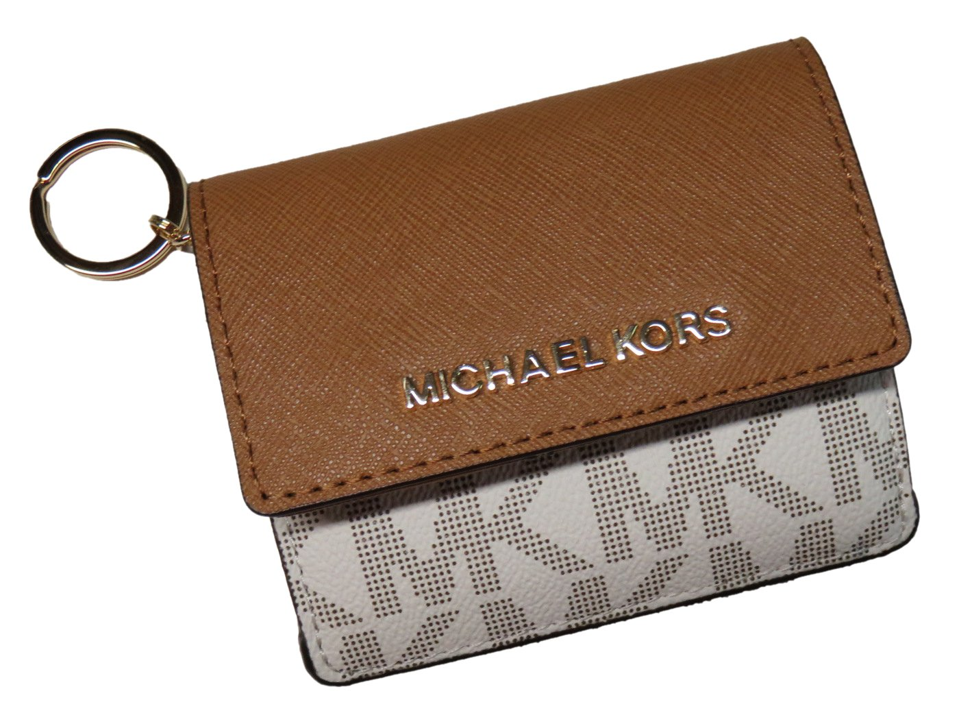 9576e75f3ad0 Galleon - Michael Kors Jet Set Travel Card Case Wallet Vanilla/Acorn