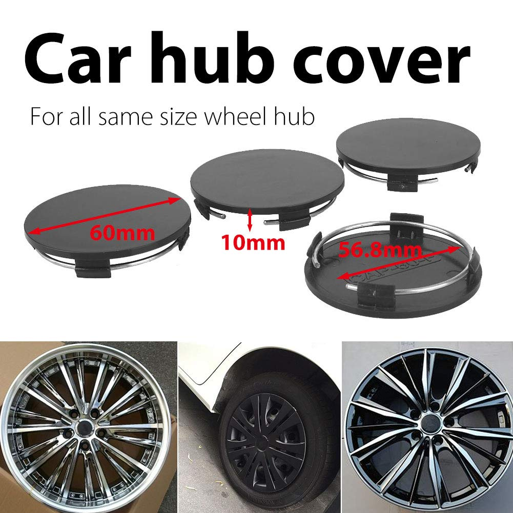 CAIDUD 60mm-56.8mm Car Wheel Center Hub Caps for Rim Cover Spare Vehicle Black Set of 4
