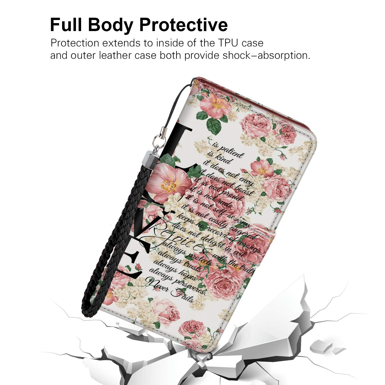 ee8dabcada139 Amazon.com: Floral Love iPhone Xr Wallet Case PU Leather Cover and ...
