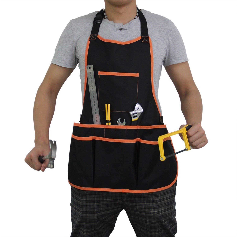 Canvas Tool Apron, Mens Work Apron with Pockets, Canvas Utility Apron with 16 Tool Pockets, Adjustable Neck Strap, Lexvss Waterproof Work Apron for Women & Men【Black】 by Lexvss (Image #1)
