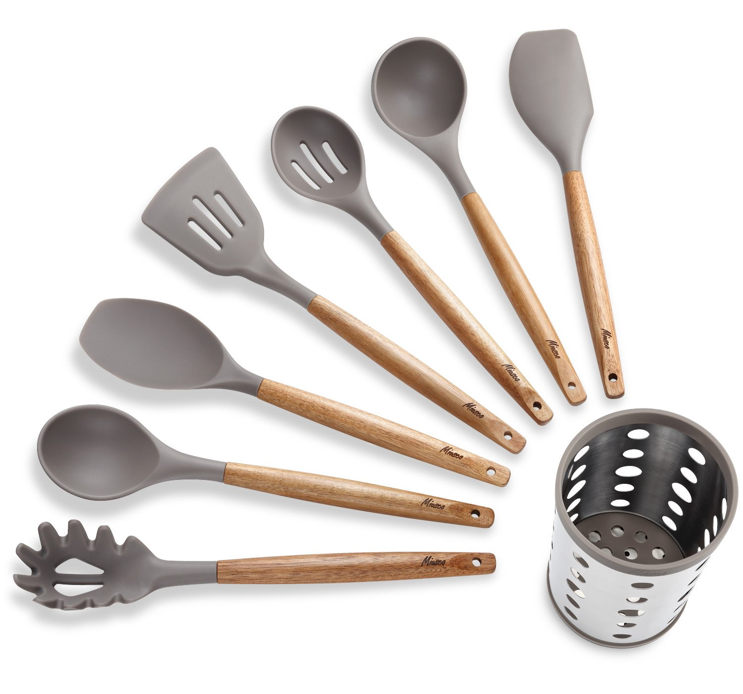 Miusco 7 Piece Silicone Cooking Utensil Set with Natural Acacia Hard Wood Handle and Stainless Steel Utensil Holder