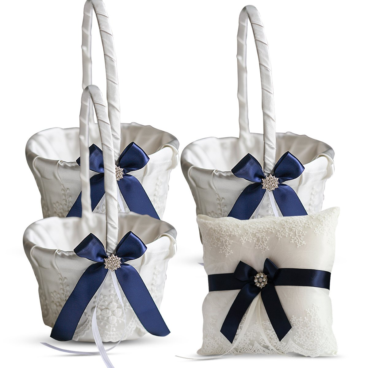 Roman Store Ivory Ring Bearer Pillow and Basket Set | Lace Collection | Flower Girl & Welcome Basket for Guest | Handmade Wedding Baskets & Pillows (Navy Blue)