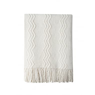 Bourina Throw Blanket Textured Solid Soft for Sofa Couch Decorative Knitted Blanket, 50  x 60 ,Off White