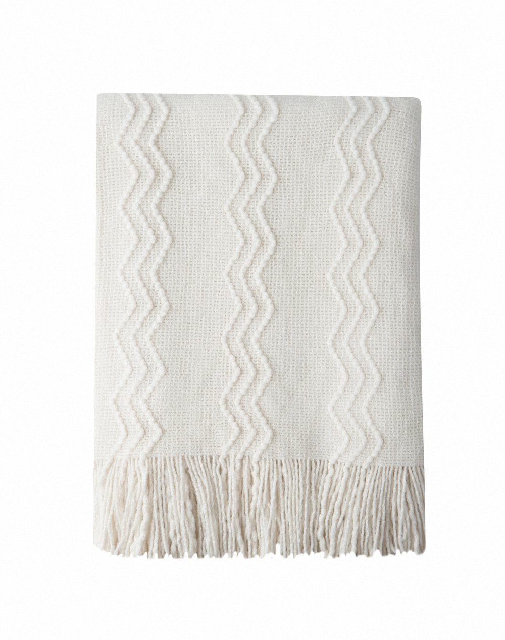Bourina Throw Blanket Textured Solid Soft Sofa Couch Decorative Knitted Blanket, 50'' x 60'',Off White