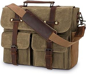 Laptop Messenger Bag for Men 15.6 Inch Waterproof Vintage Waxed Canvas Briefcase Genuine Leather Satchel Shoulder Bag Large Retro Computer Laptop Bag,Khaki