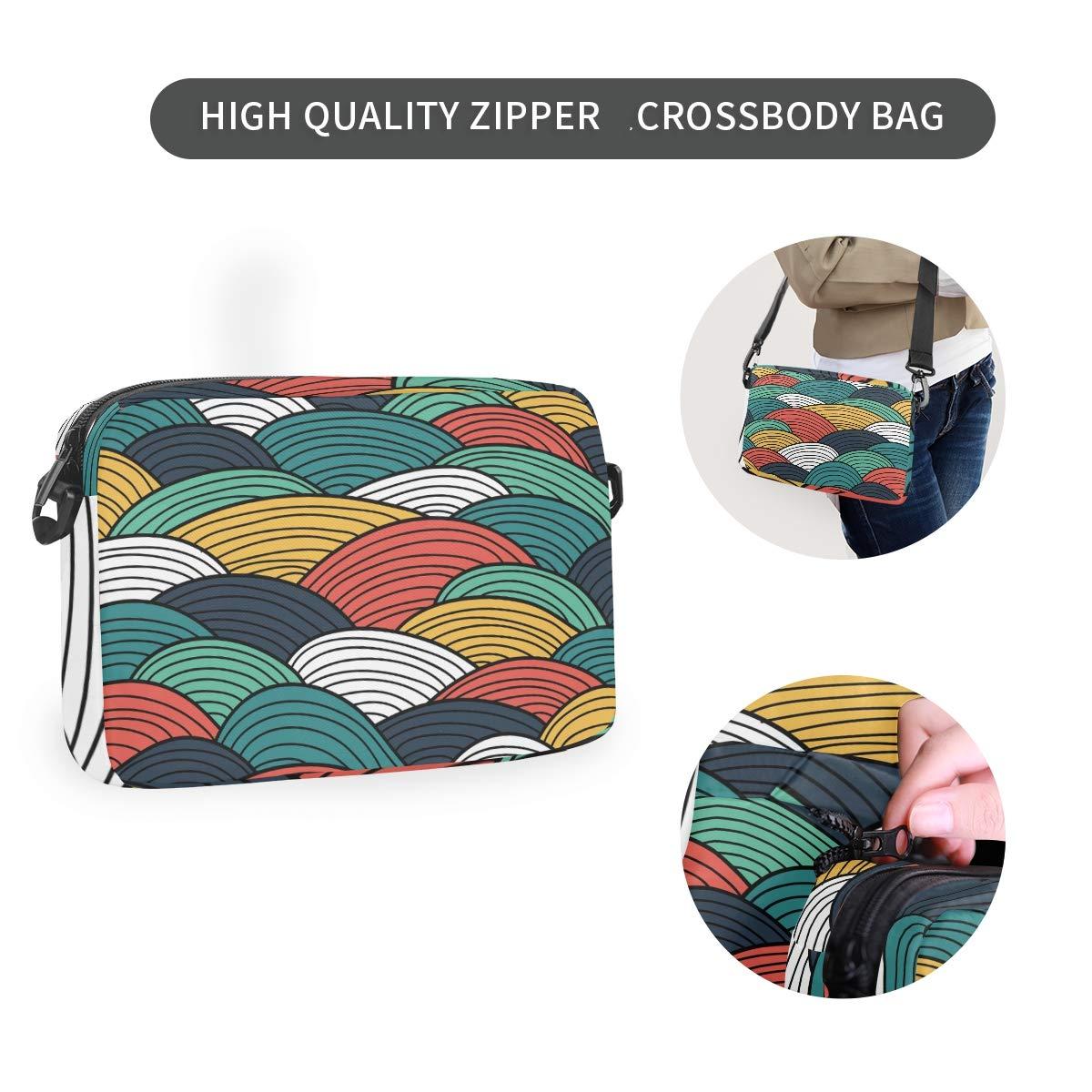 Colorful Line Art Shoulder Backpack Messenger Crossbody Laptop Bag Student Bookbags for Kid Girls Boys