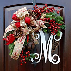 Christmas Large Wreath Door Summer Wreaths for Front Door Autumn Wreath Front Door Christmas letter garland Christmas door hanging simulation red fruit garland rattan circle decoration,Mwreath,30CM