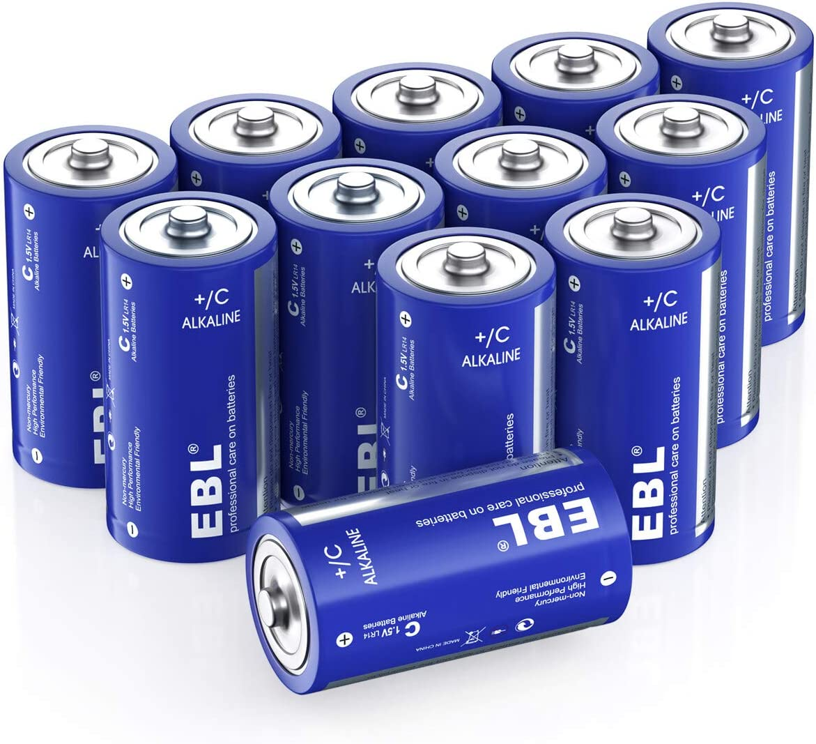 Long Lasting Performance Alkaline C Cell Batteries for Household and Business 12 Count EBL C Batteries