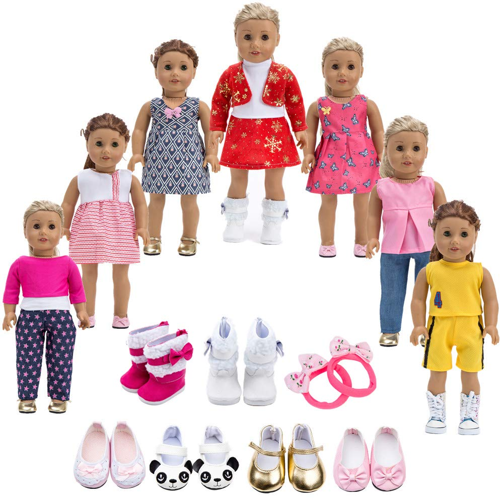 Howona 18 inch Doll Clothes Gift for Girls - Include 7 Set Toys Doll Outfits + 2 Pairs Shoes Accessories fit for American Girl Dolls