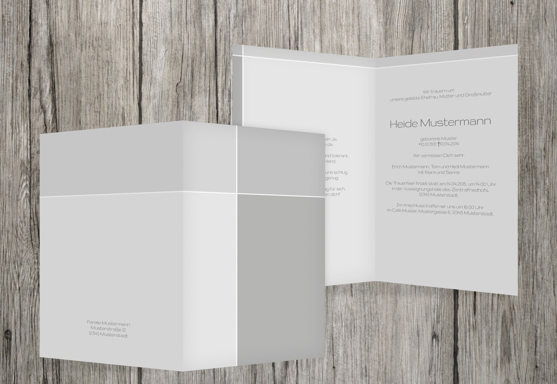 Tarjeta de luto Discreet Cross, gris, 100 Karten